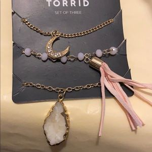 Torrid 3 piece gold tone necklace set